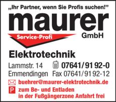Anzeige Maurer Elektrotechnik GmbH