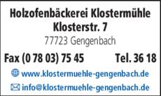 Anzeige Holzofenbäckerei Klostermühle
