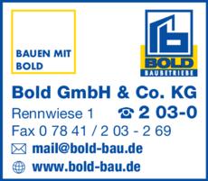 Anzeige BOLD GmbH & Co.KG