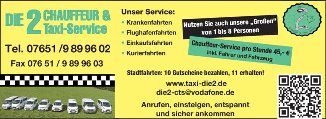 Anzeige Die 2 Chauffeur & Taxi-Service