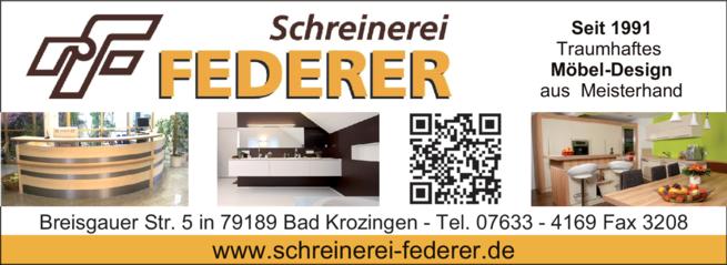 Anzeige Federer Schreinerei