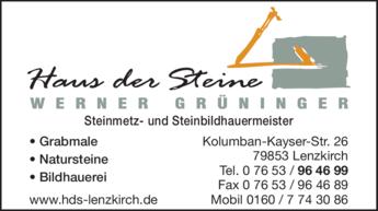 Anzeige Grüninger Grabmale