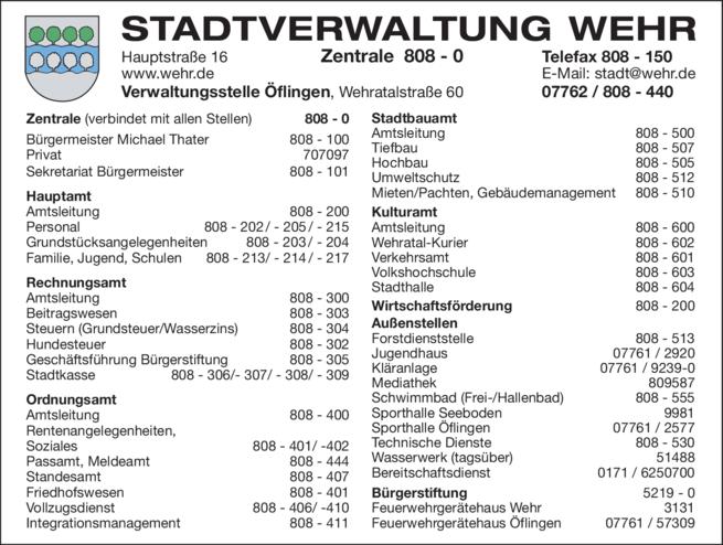 Anzeige Stadtverwaltung