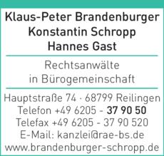 Anzeige Brandenburger Klaus-Peter, Schropp Konstantin, Gast Hannes