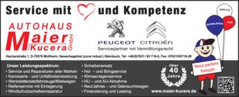 Anzeige Autohaus Maier Kucera GmbH