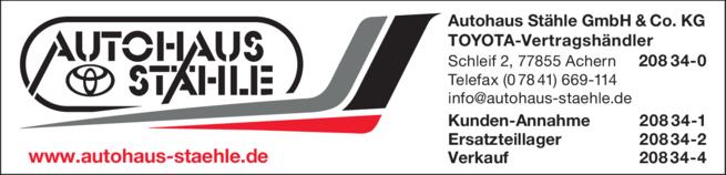 Anzeige Autohaus Stähle GmbH & Co.KG