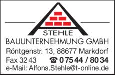 Anzeige Stehle Bauunternehmung GmbH