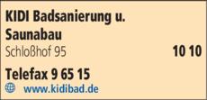 Anzeige Kidi Badsanierung u. Saunabau