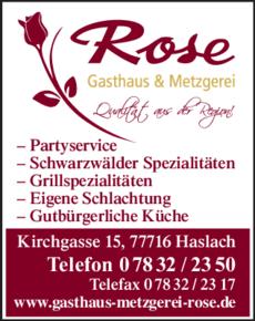 Anzeige Rose Metzgerei