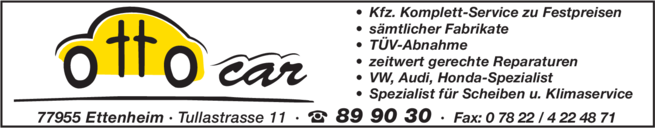 Anzeige Auto Ottocar