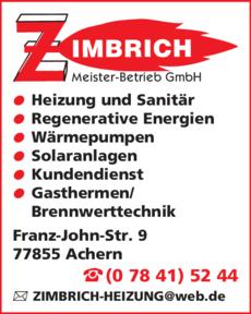 Anzeige Zimbrich Andreas GmbH