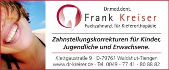 Anzeige Kreiser Frank Dr.med.dent.