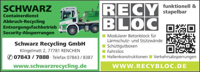 Anzeige Schwarz Containerdienst