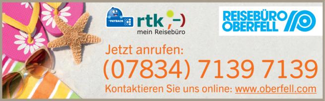 Anzeige Reisebüro Oberfell