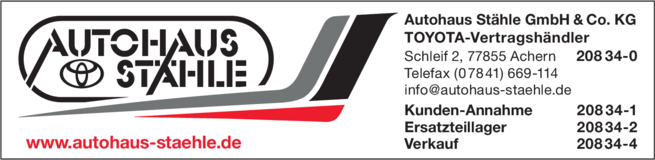 Anzeige Stähle Autohaus