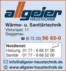 Anzeige Allgeier Haustechnik