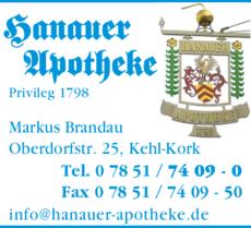 Anzeige Hanauer Apotheke