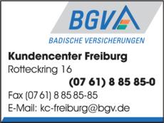Anzeige Badische Versicherungen Kundencenter Freiburg