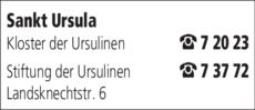 Anzeige Sankt Ursula Kloster der Ursulinen