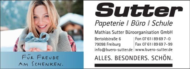 Anzeige Sutter Büro + Papeterie