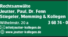 Anzeige Jeutter, Paul, Dr. Fenn, Stiegeler, Memming & Kollegen