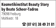 Anzeige Kosmetikinstitut Beauty Story