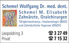 Anzeige Schemel Wolfgang Dr. und Elisabeth