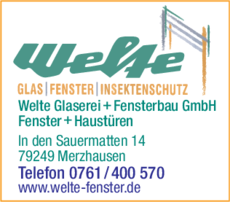 Anzeige Welte Glaserei + Fensterbau GmbH