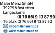 Anzeige Maler Menz GmbH