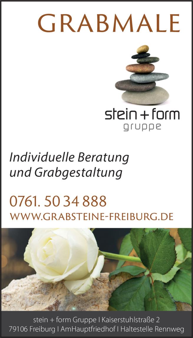 Anzeige Bestattungen Stein + Form