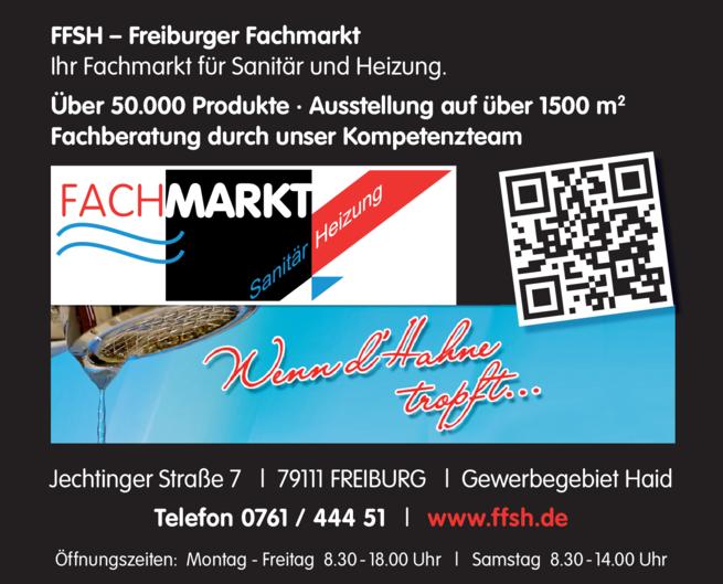 Anzeige Freiburger Fachmarkt Sanitär Heizung GmbH