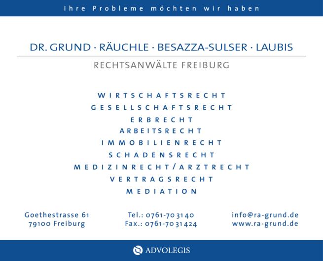 Anzeige Grund Dr., Grund, Räuchle, Besazza-Sulser