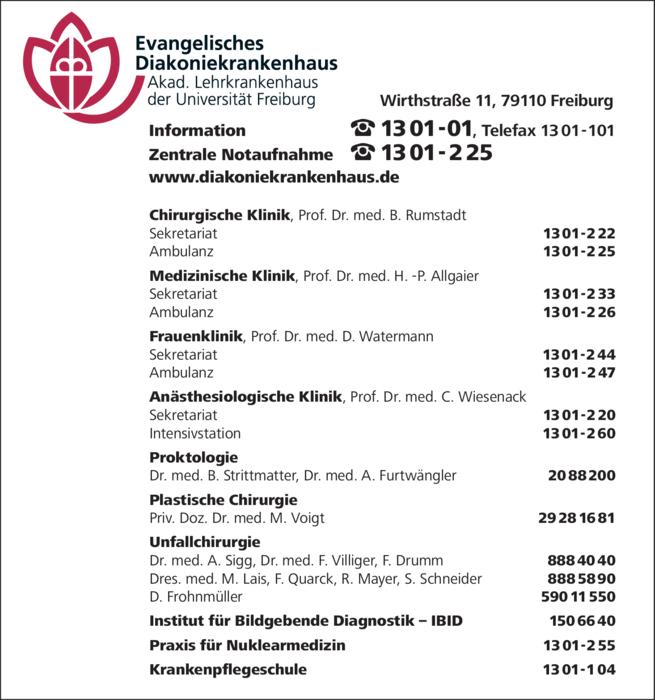 Anzeige Evangelisches Diakoniekrankenhaus