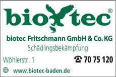 Anzeige Biotec Fritschmann GmbH & Co.KG