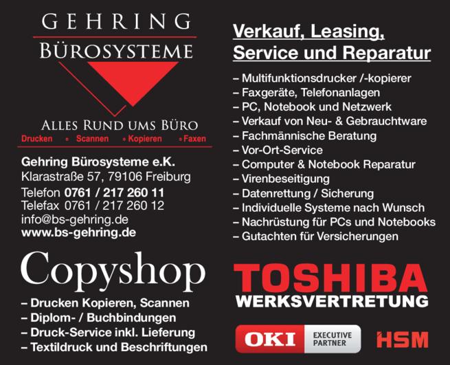 Anzeige Büro Gehring Bürosysteme e.K.