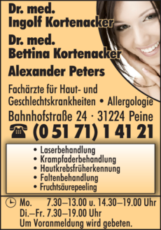 Anzeige Kortenacker I. u. B. Dres.med./Peters A.