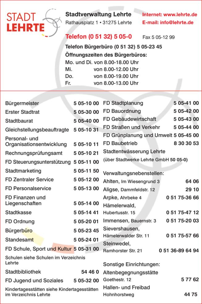 Anzeige Stadtverwaltung Lehrte