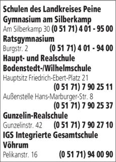 Anzeige Schulen Landkreis Peine