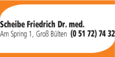 Anzeige Scheibe Friedrich Dr.med.