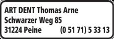 Anzeige ART DENT Thomas Arne