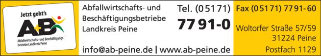 Anzeige A+B Abfallwirtschafts-u.Beschäftigungsbetriebe