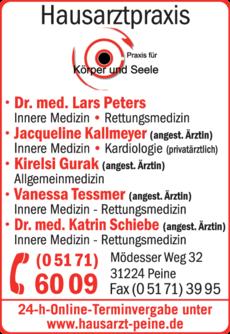 Anzeige Peters L. Dr. med., Gurak K., Kallmeyer J.