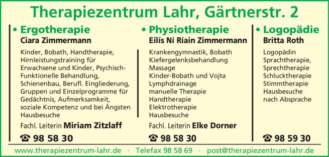 Anzeige Therapiezentrum Lahr, Ciara Zimmermann