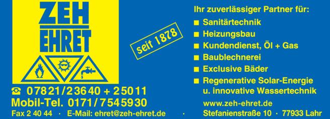 Anzeige Zeh-Ehret GmbH