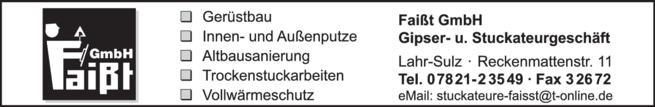 Anzeige Faißt GmbH, Gipser- und Stuckateurgeschäft