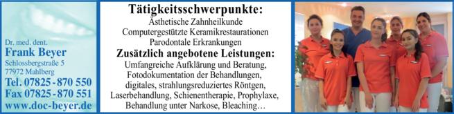 Anzeige Beyer Frank Dr.med.dent.