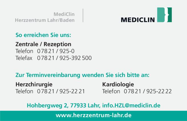 Anzeige MediClin Herzzentrum Lahr/Baden