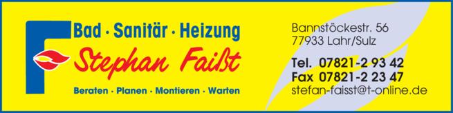 Anzeige Faißt Stephan, Bad-Sanitär-Heizung