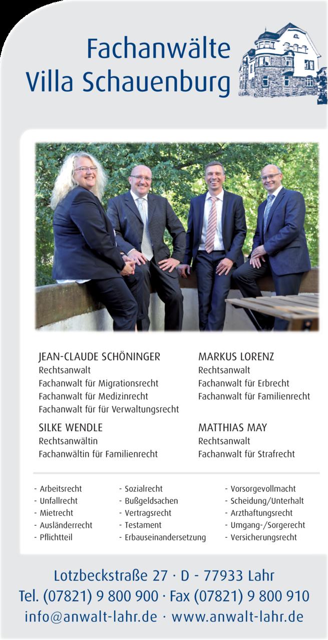 Anzeige Fachanwälte Villa Schauenburg, Schöninger, May, Wendle, Lorenz