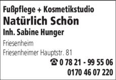 Anzeige Natürlich Schön Fußpflege + Kosmetikstudio